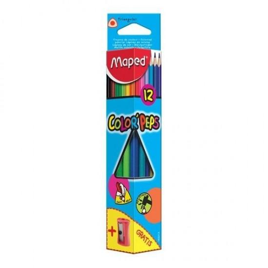 Цветни моливи МАПЕД 12 цвята + острилка