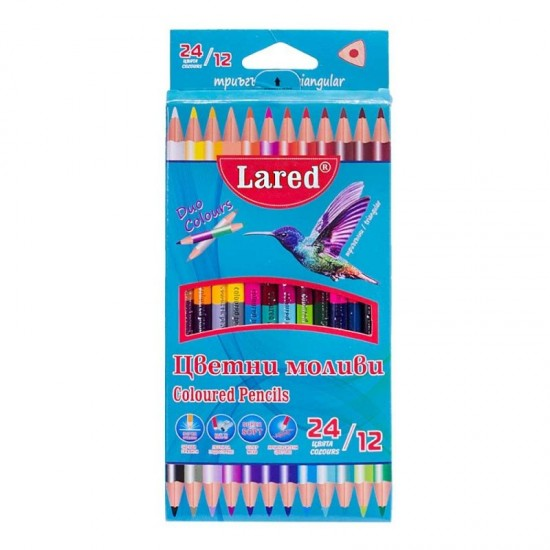 Цветни моливи триъгълни ЛАРЕД ДУО 12/24цвята