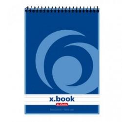 Бележник Herlitz X-book Меки сини корици със спирала, А6 50 л. с редове